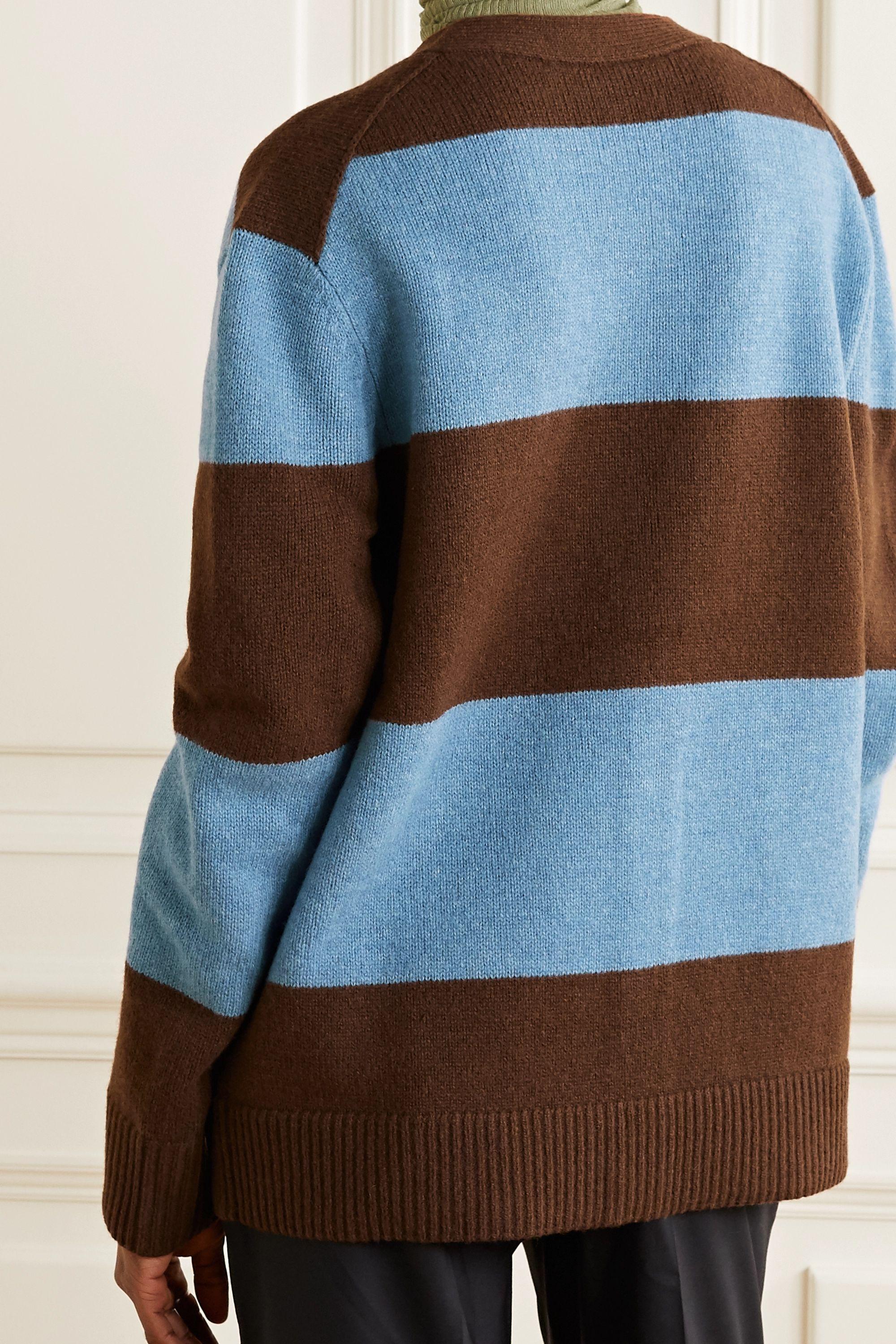 Acne Studios Appliquéd striped wool cardigan