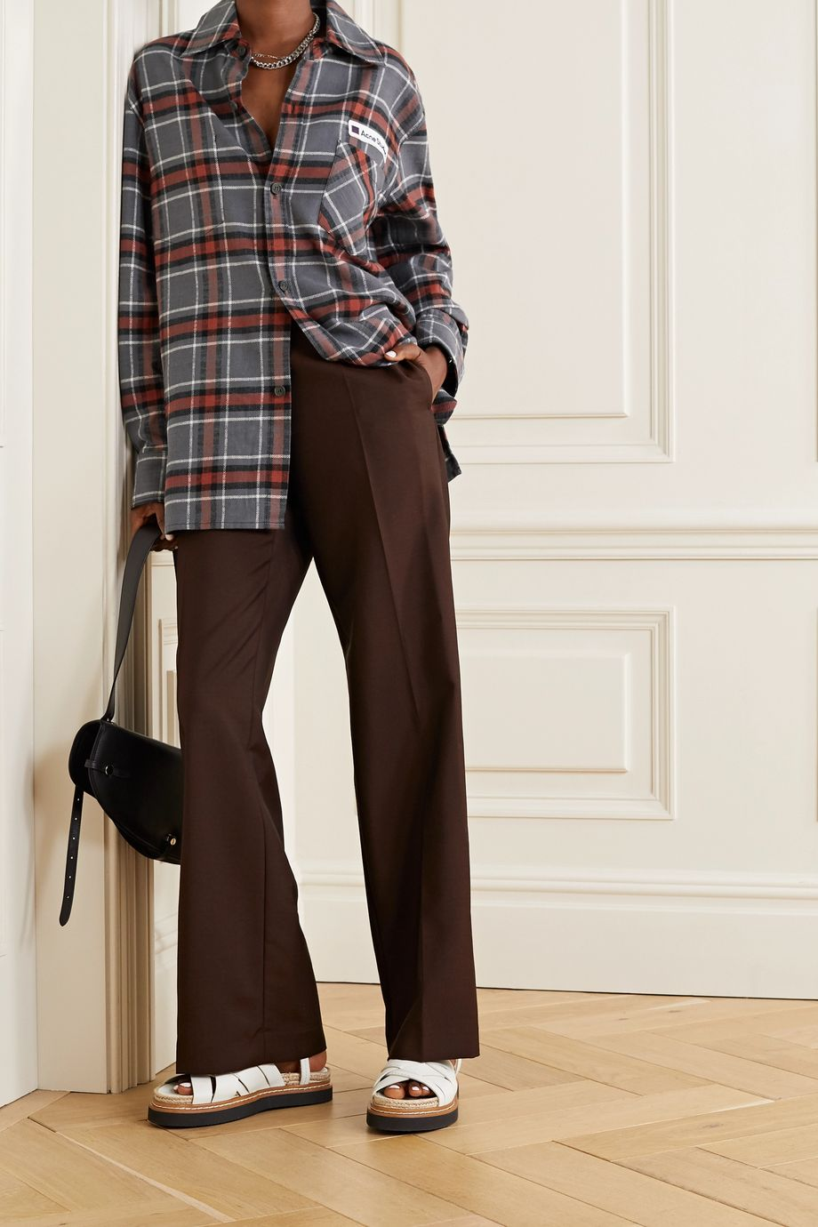 Acne Studios Oversized appliquéd checked cotton-flannel shirt