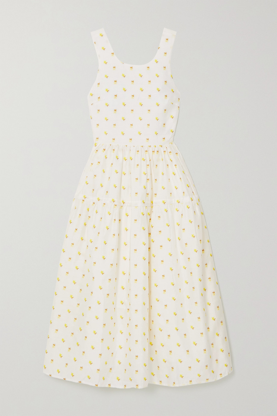 Stine Goya Tulula 露背层接式花卉提花中长连衣裙