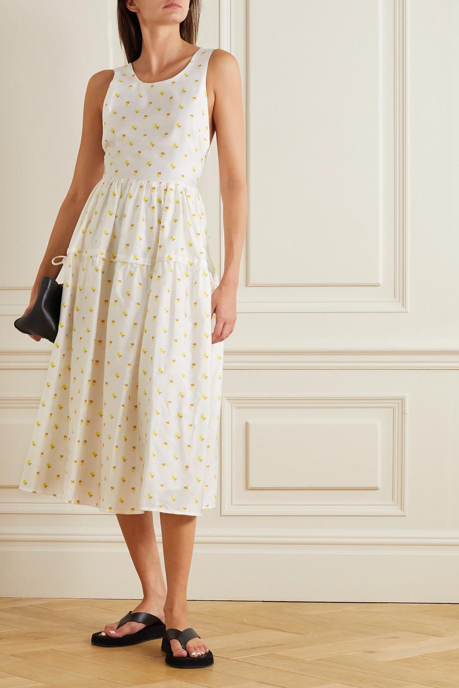 Stine Goya Tulula open-back tiered floral-jacquard midi dress