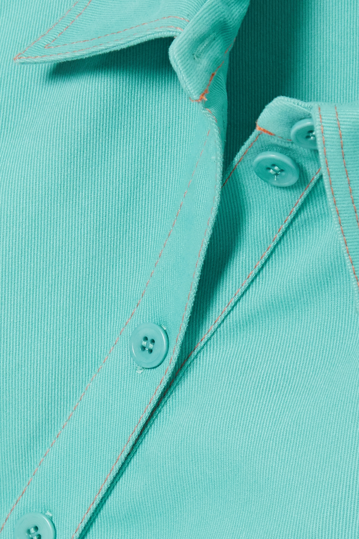 Light Blue + Net Sustain Carli Belted Cotton-twill Mini Shirt Dress | Stine Goya