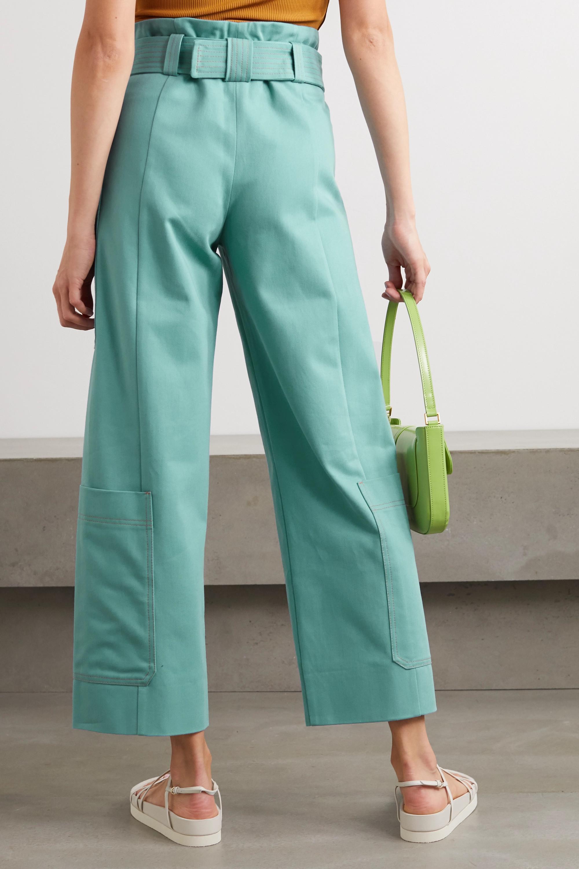 Stine Goya + NET SUSTAIN Roman belted organic cotton-twill straight-leg pants