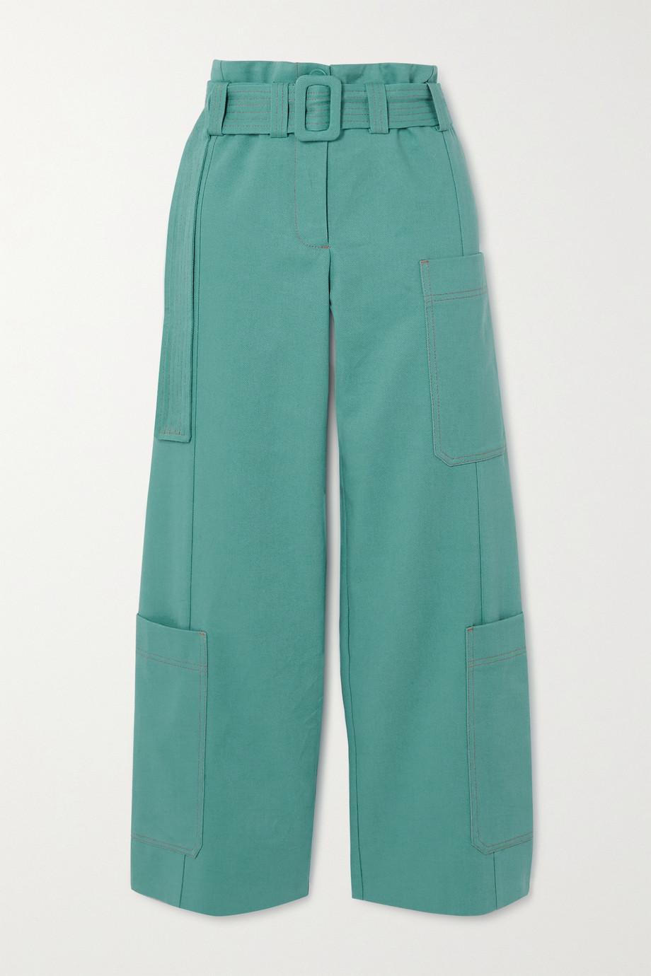 Stine Goya Roman belted organic cotton-twill straight-leg pants