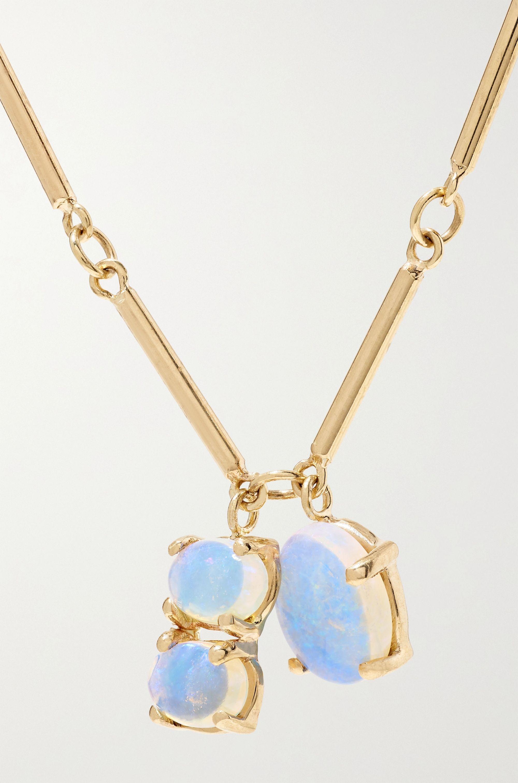 Wwake Token 14-karat gold opal necklace