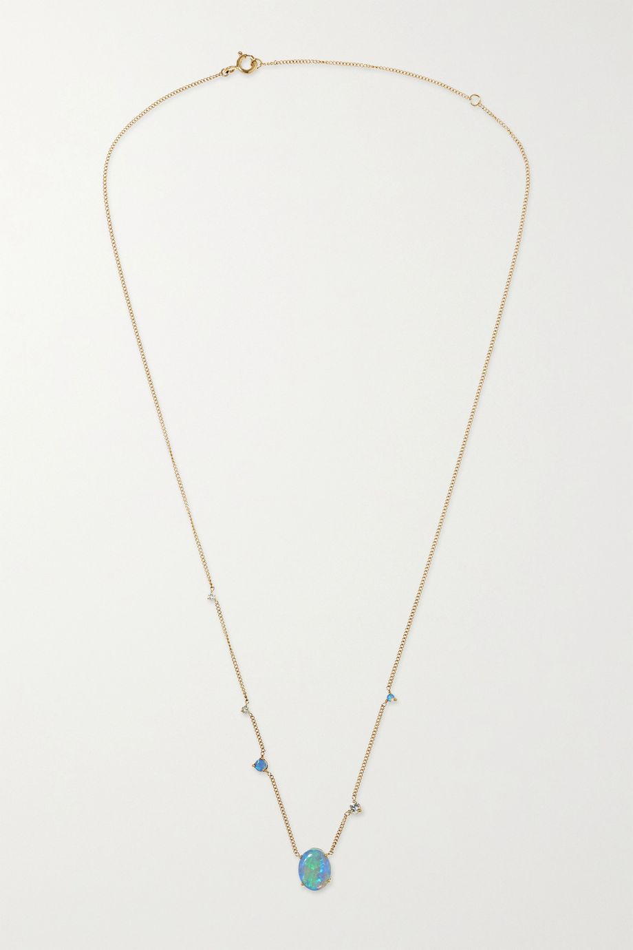 Wwake 14-karat gold, opal and diamond necklace