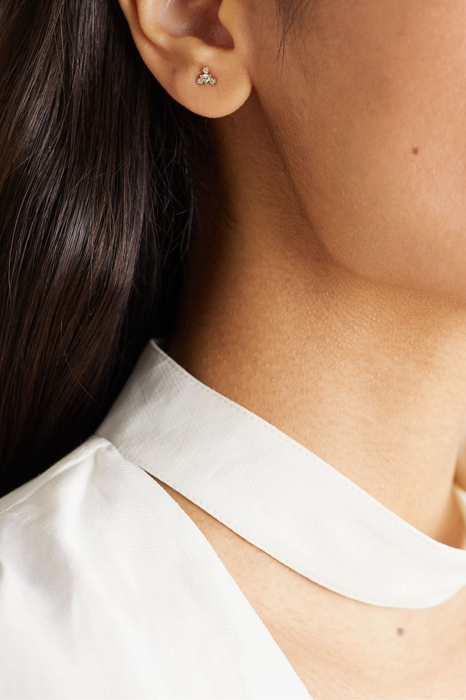 Wwake Burst gold diamond earrings