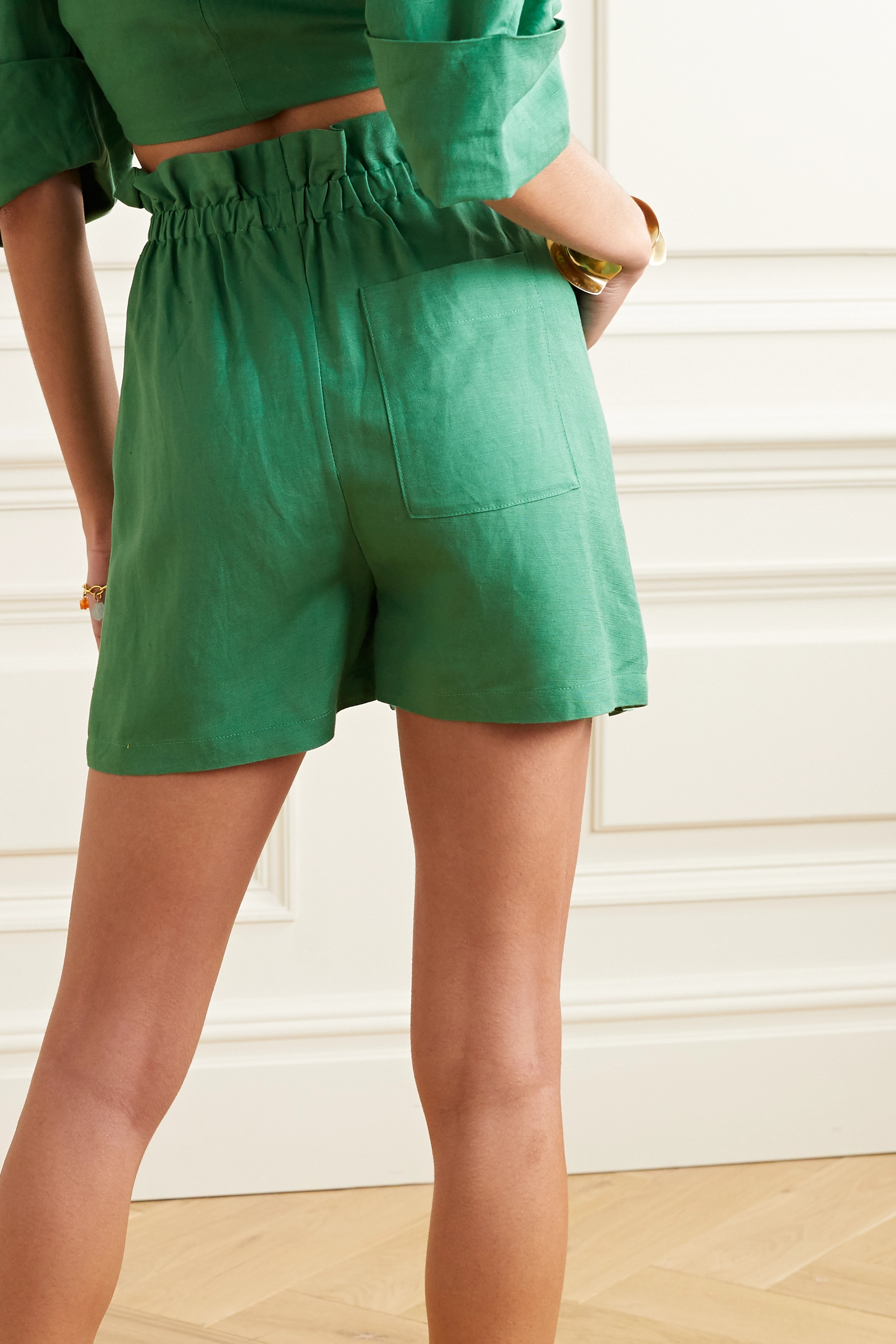 Cult Gaia Campbell tie-front linen shorts