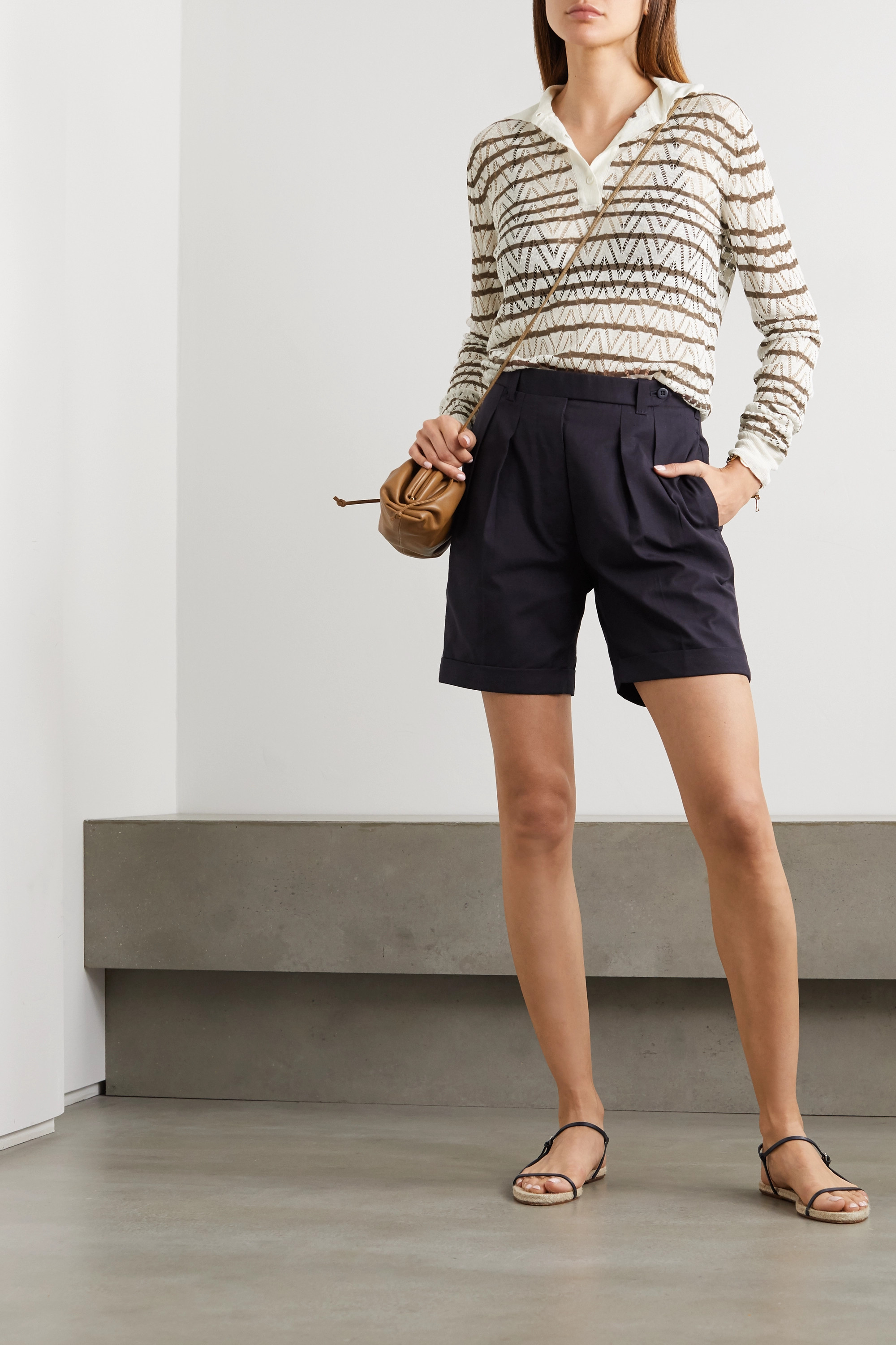 Giuliva Heritage The Emera striped linen and silk-blend sweater
