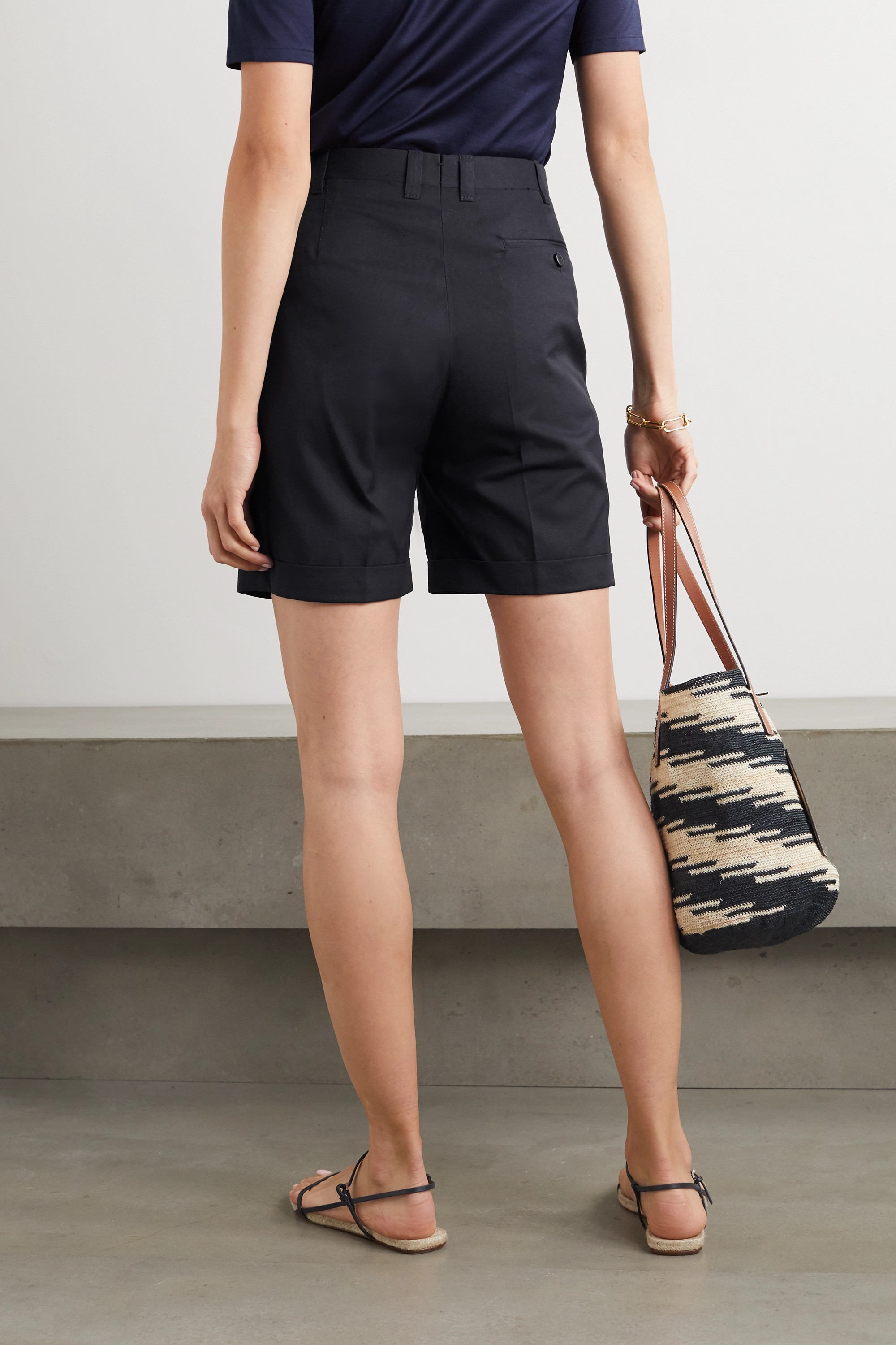 Giuliva Heritage The Husband pleated grain de poudre wool shorts