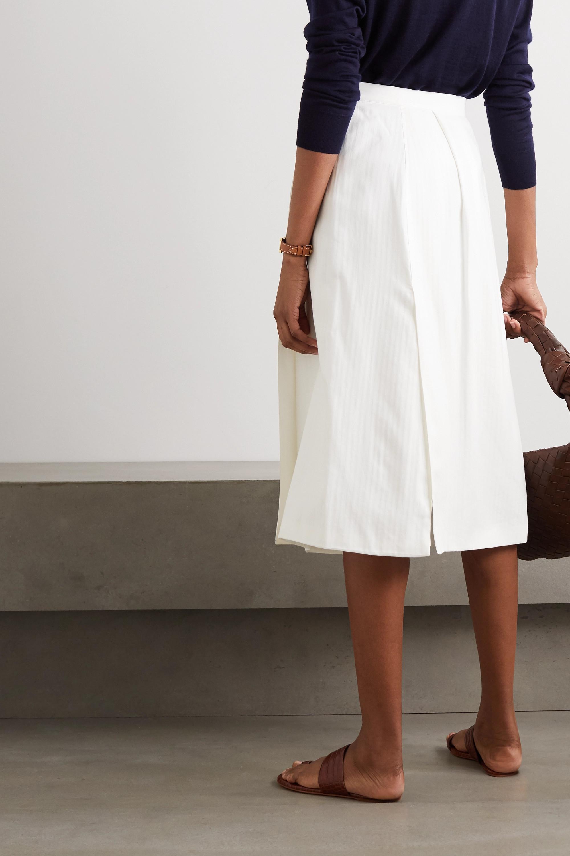 Giuliva Heritage The Isabella herringbone cotton and cashmere-blend midi wrap skirt