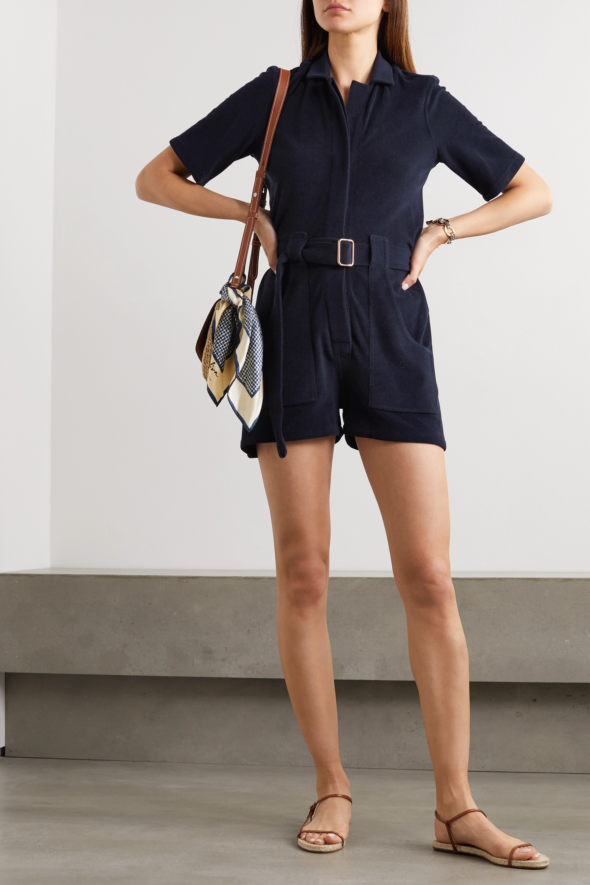 Giuliva Heritage The Sienna belted cotton-blend terry playsuit