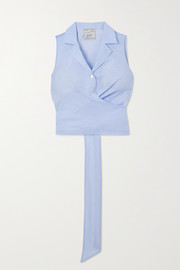 Giuliva Heritage The Elide cropped tie-back cotton-poplin shirt
