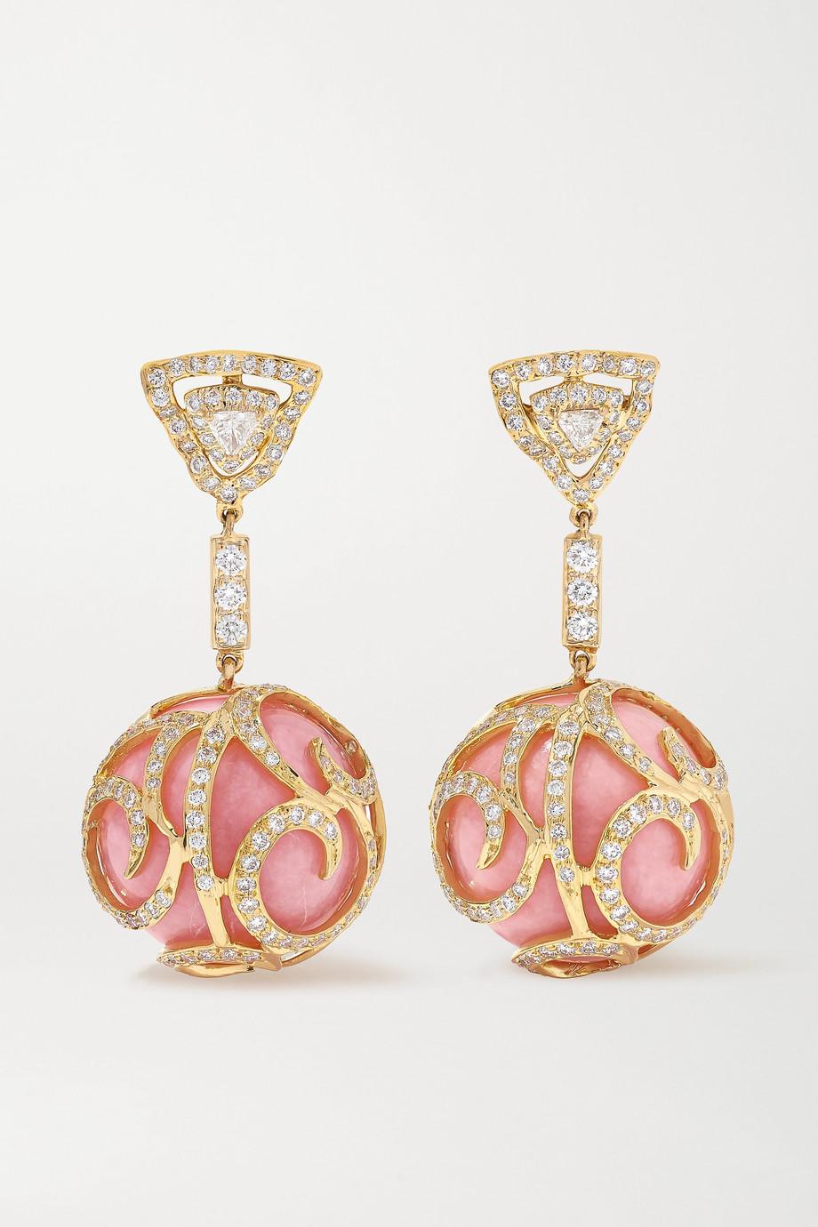 Bina Goenka Ohrringe aus 18 Karat Gold mit Opalen und Diamanten