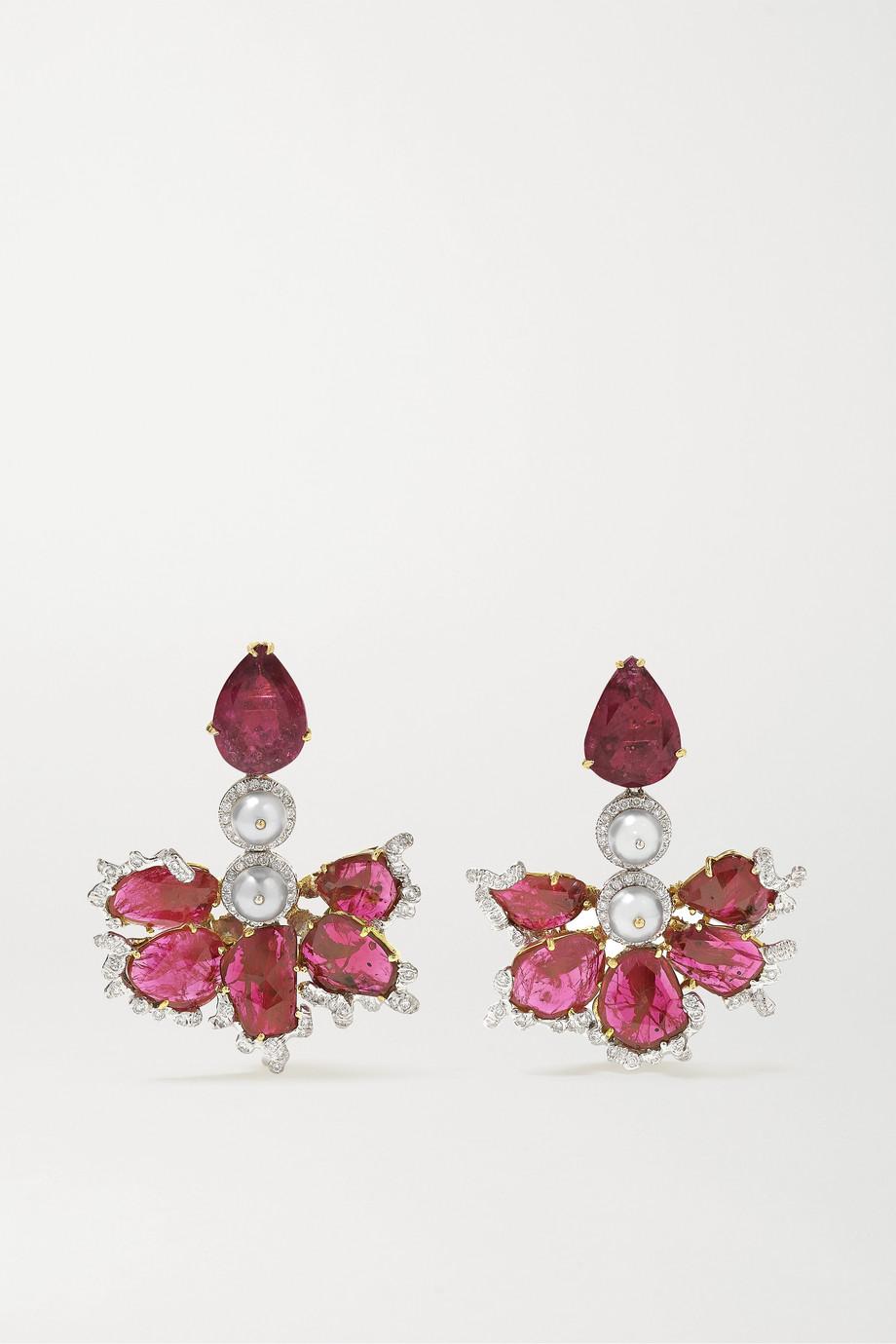 Bina Goenka 18-karat gold and rhodium-plated multi-stone earrings