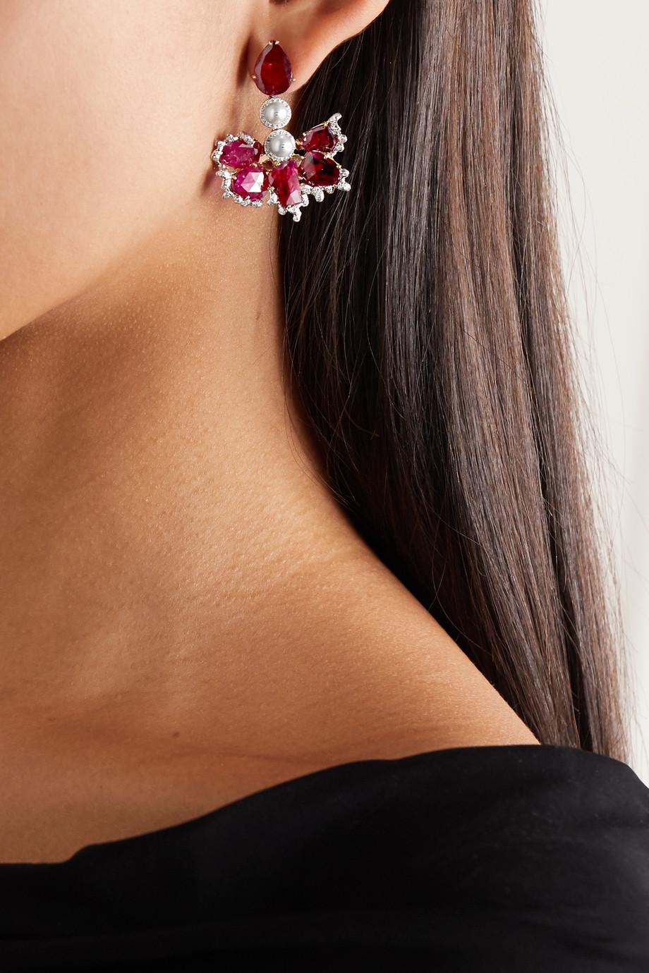 Bina Goenka Boucles d'oreilles en or 18 carats, plaqué rhodium et pierres multiples