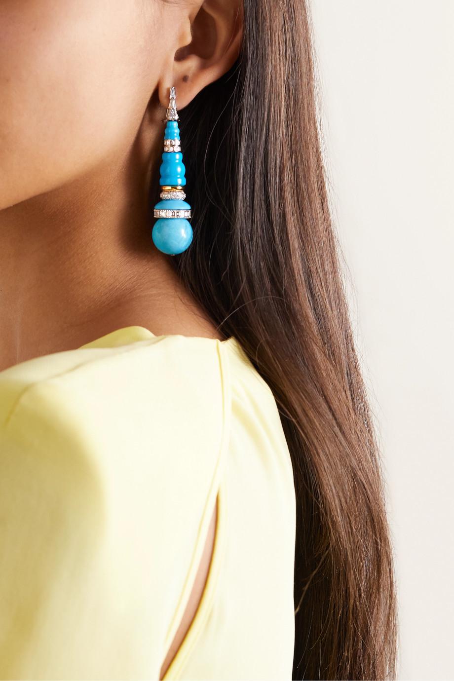 Bina Goenka Boucles d'oreilles en or blanc et jaune 18 carats, turquoises et diamants