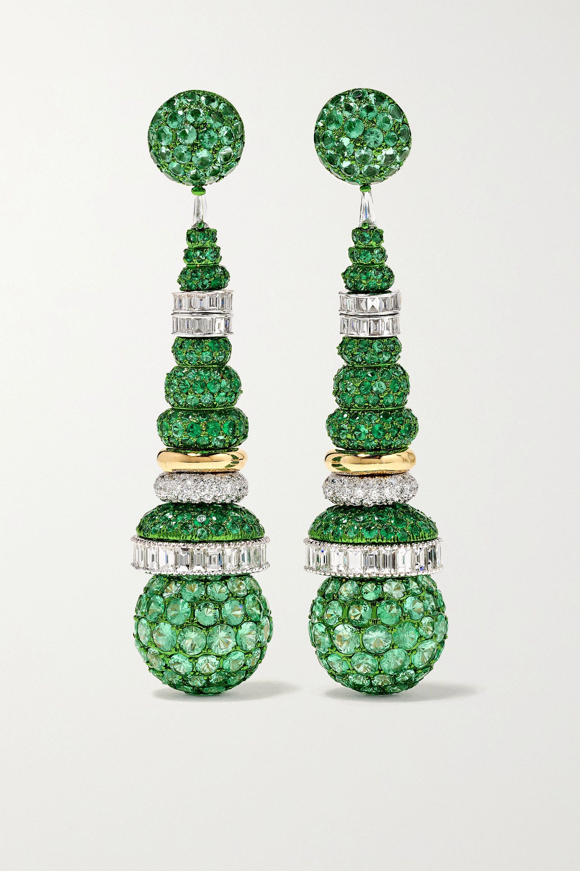 Bina Goenka 18-karat white and yellow gold, emerald and diamond earrings
