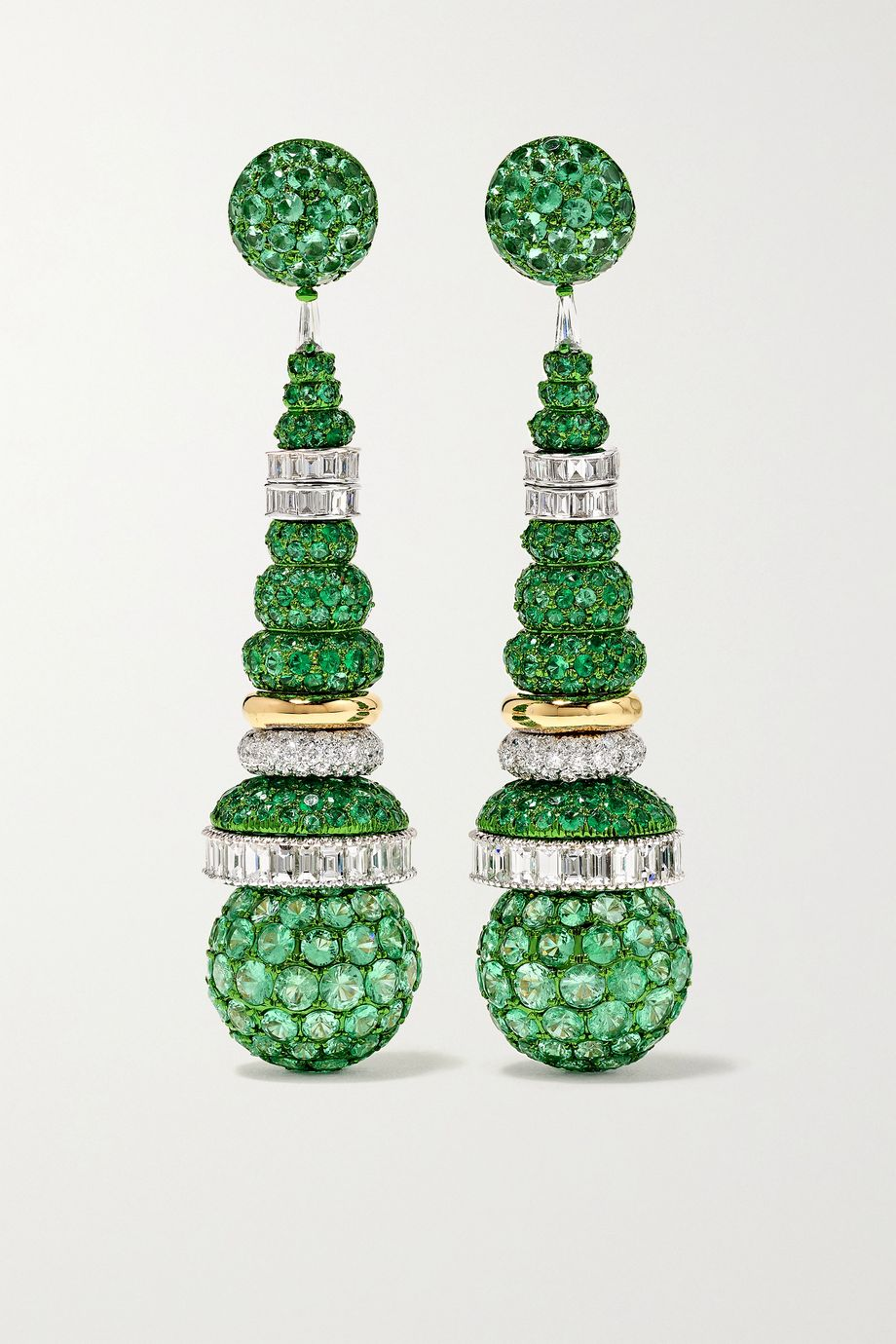 Bina Goenka 18-karat white and yellow gold, emerald and diamond earrings
