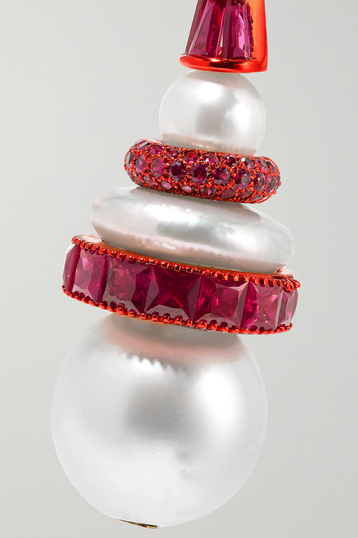 Bina Goenka 18-karat gold, pearl and ruby earrings