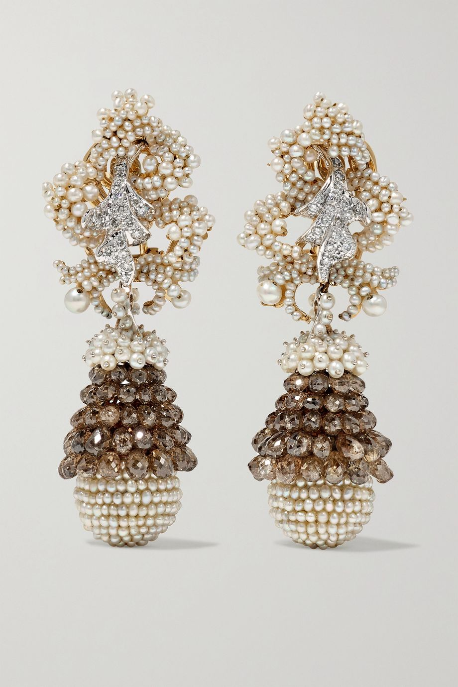 Bina Goenka 18-karat gold, diamond and pearl earrings