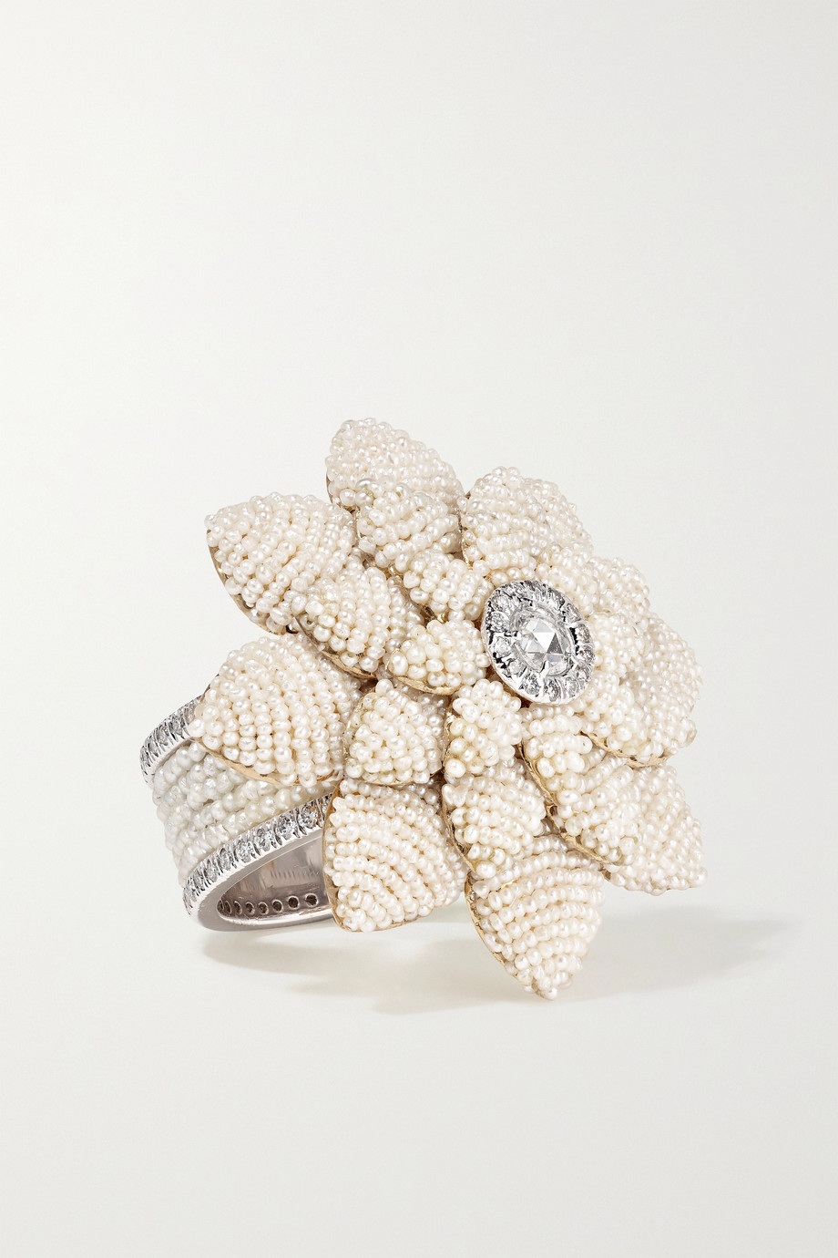 Bina Goenka 18-karat yellow and white gold, pearl and diamond ring