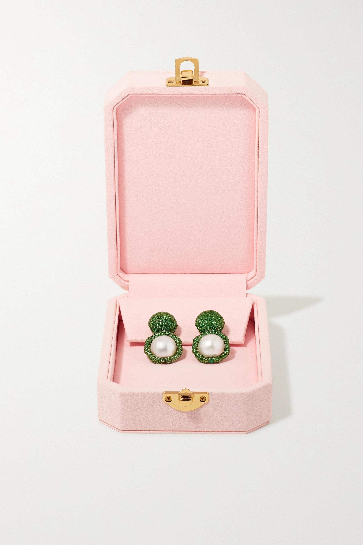 Bina Goenka 18-karat gold, tsavorite and pearl earrings