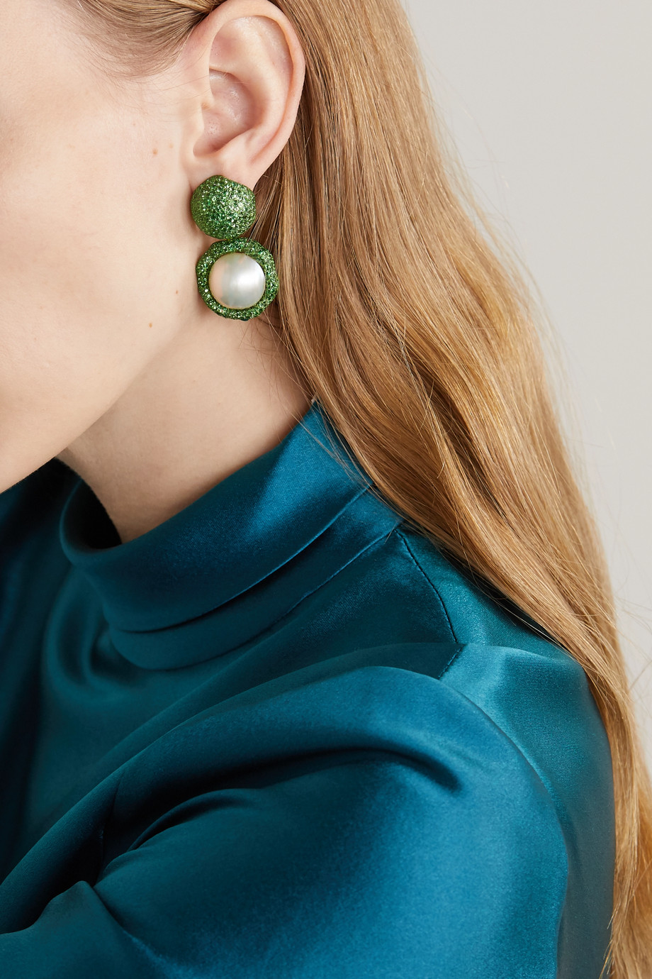 Bina Goenka 18-karat gold, tsavorite and pearl earrings