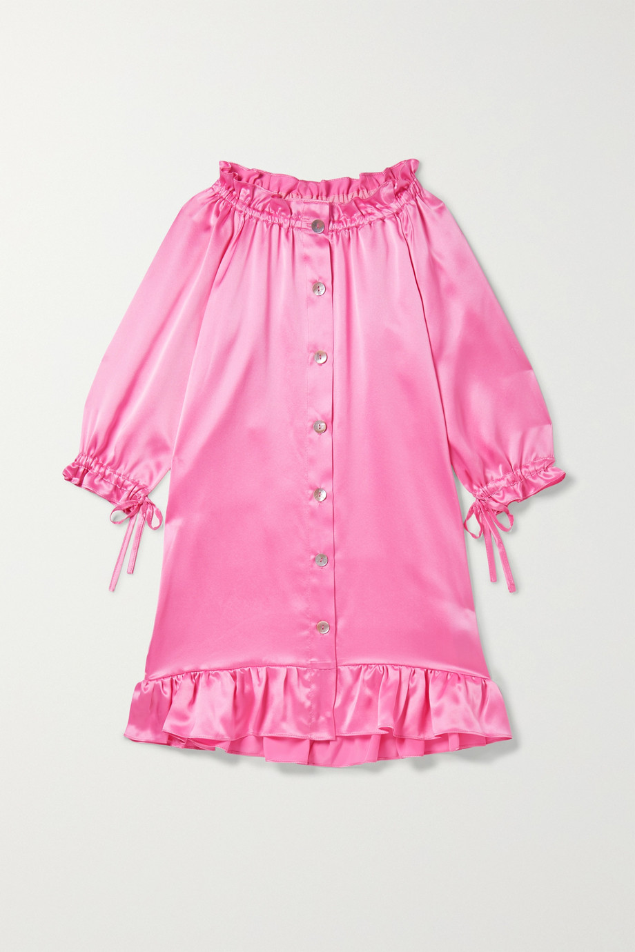 Sleeper Kids Ages 2 - 15 Zephyr tie-detailed ruffled silk-satin dress
