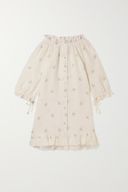 Sleeper Kids Ages 2 - 15 tie-detailed ruffled floral-print linen dress