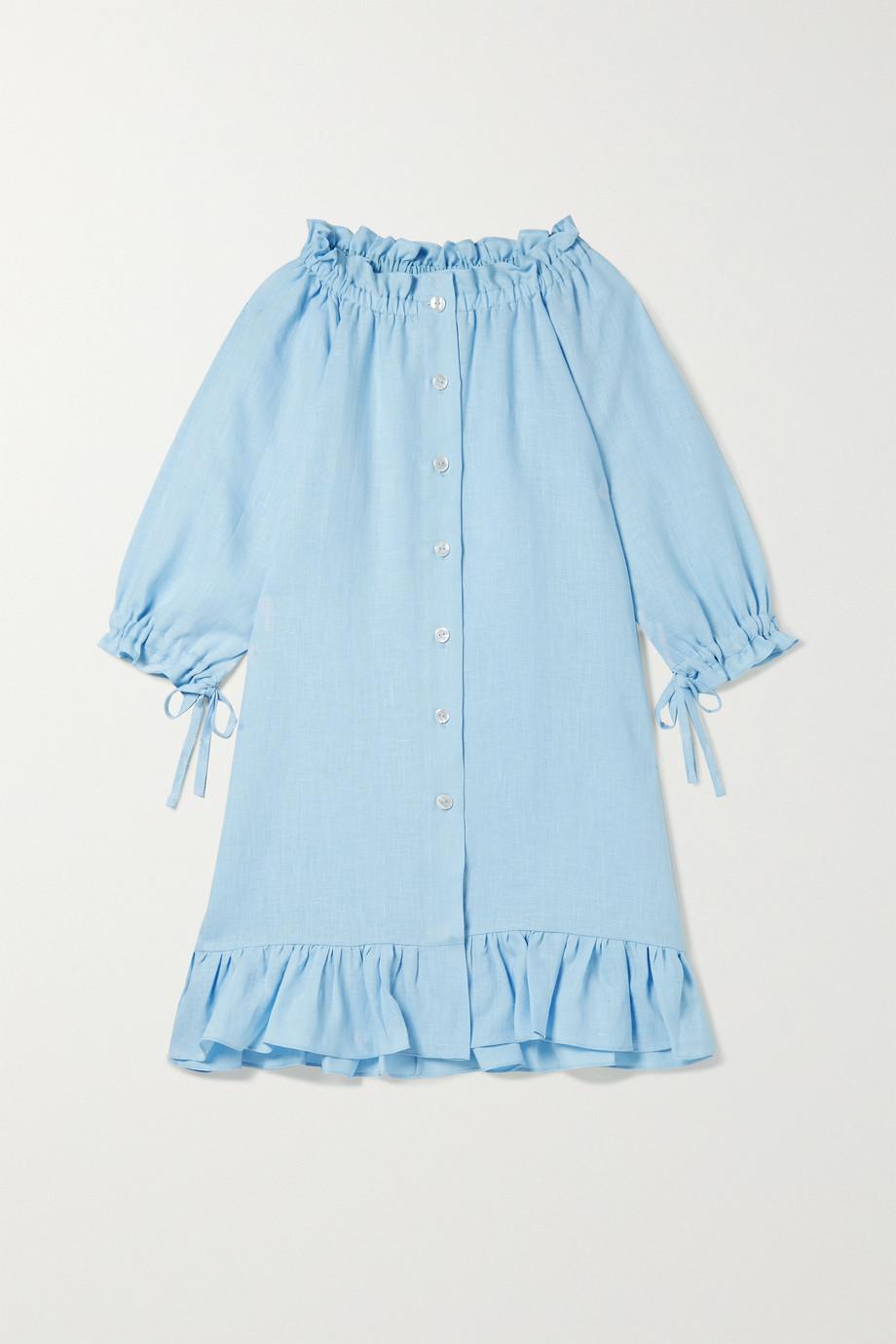 Sleeper Kids | Ages 2 - 15 tie-detailed ruffled linen dress | NET-A-PORTER.COM