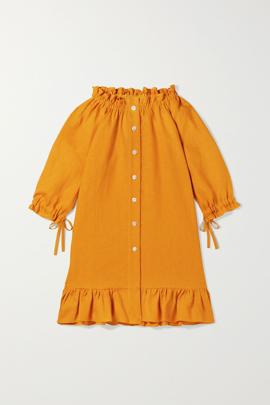 Sleeper Kids Ages 2 - 15 tie-detailed ruffled linen dress