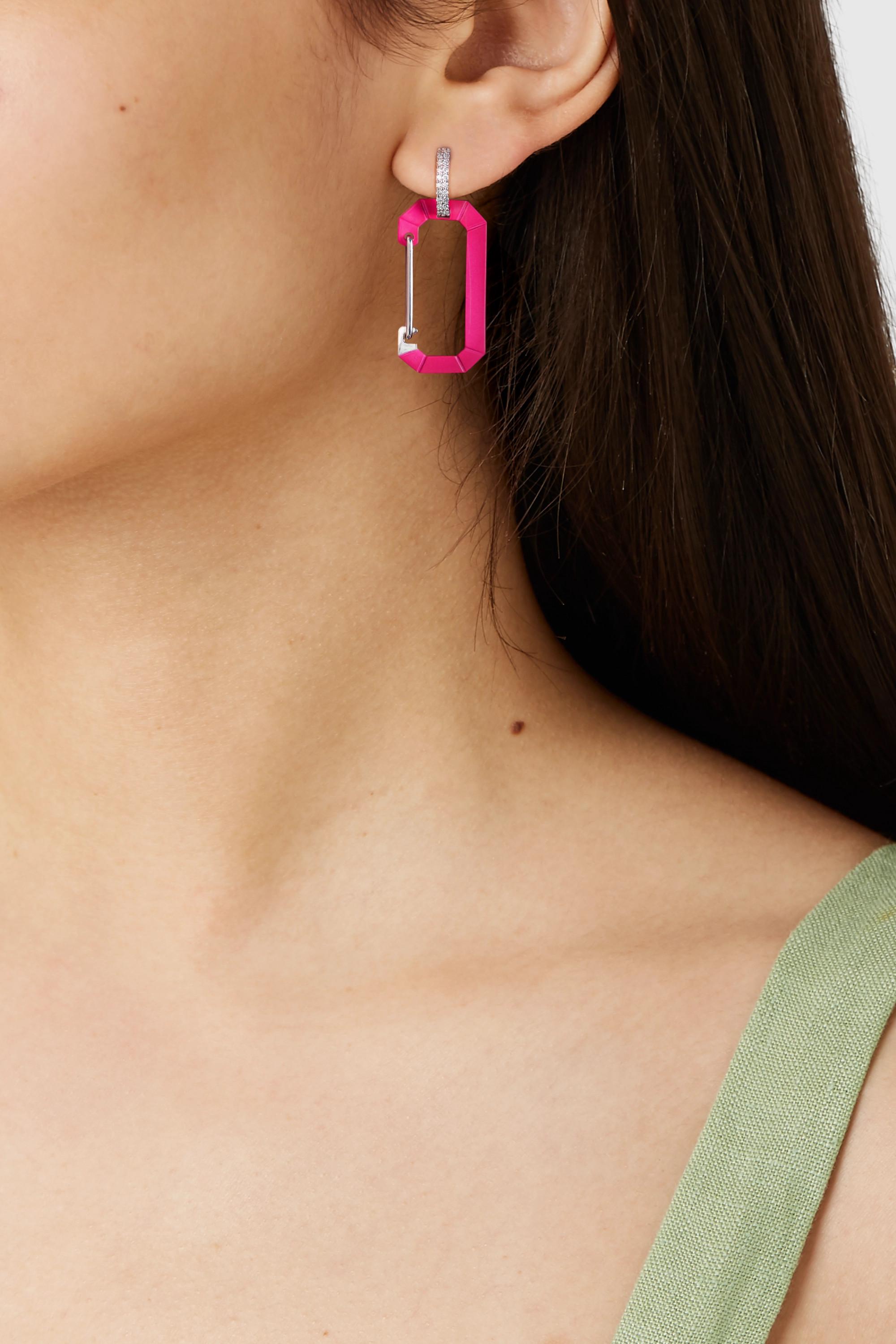EÉRA Chiara 18-karat white gold, diamond and enamel earring