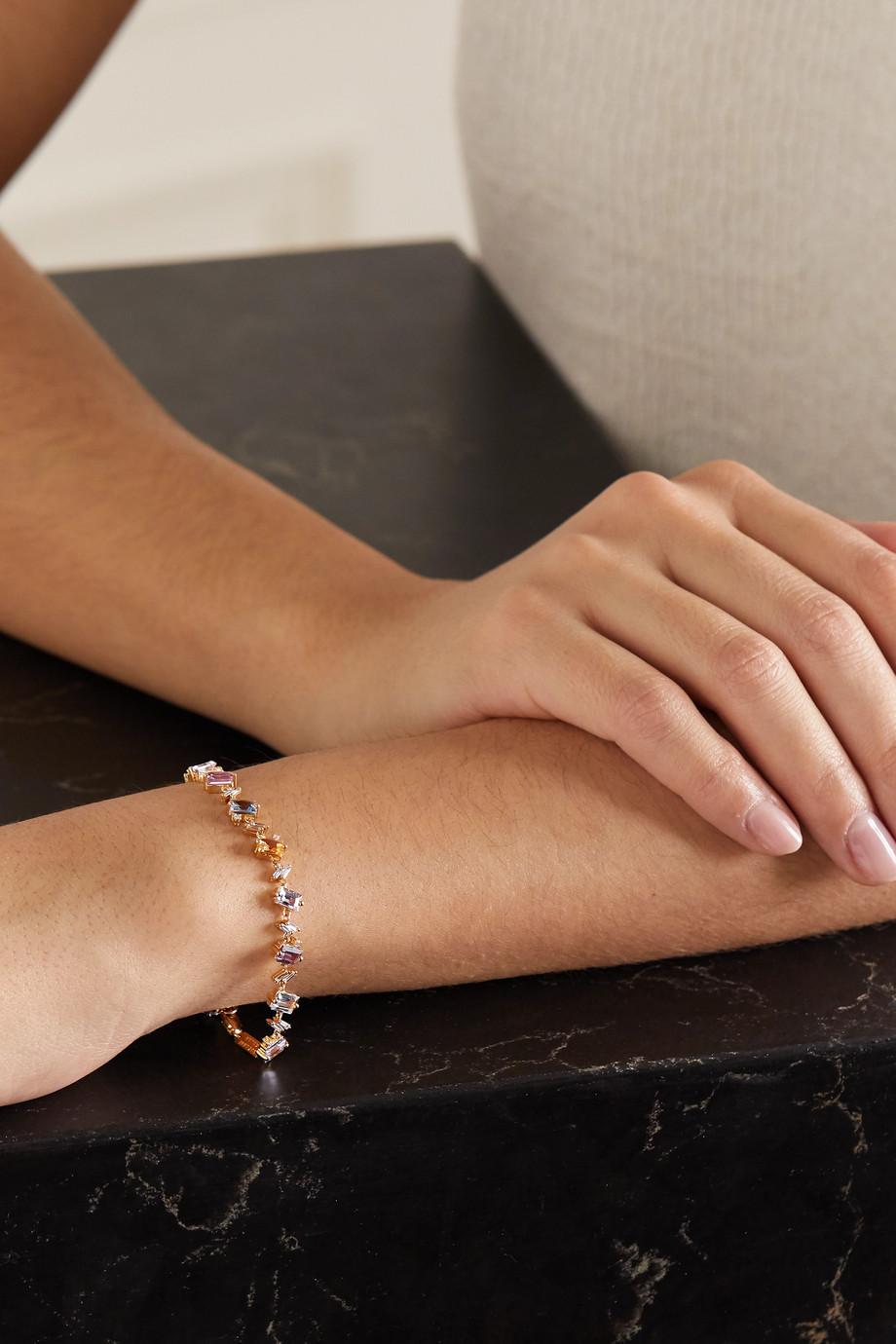 Suzanne Kalan 18-karat gold, sapphire and diamond tennis bracelet