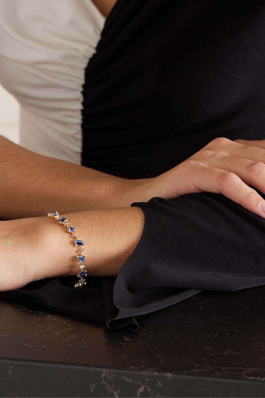 Suzanne Kalan 18-karat gold, sapphire and diamond bracelet
