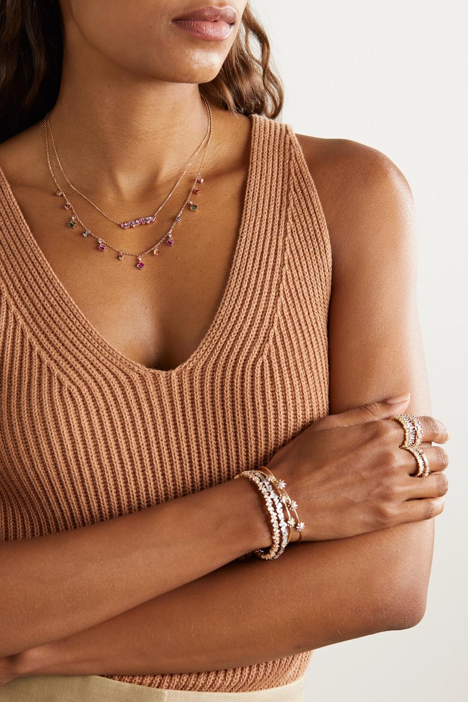 Suzanne Kalan Collier en or rose 18 carats, saphirs et diamants