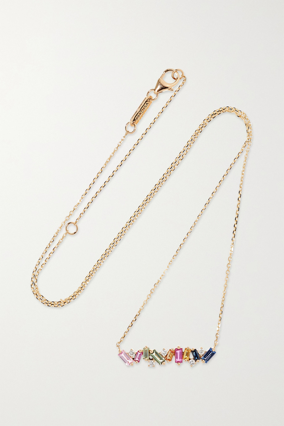 Suzanne Kalan 18K 玫瑰金、蓝宝石、钻石项链