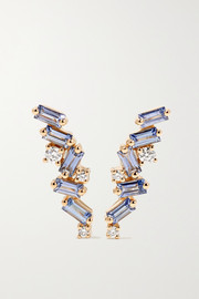 18-karat gold, sapphire and diamond earrings