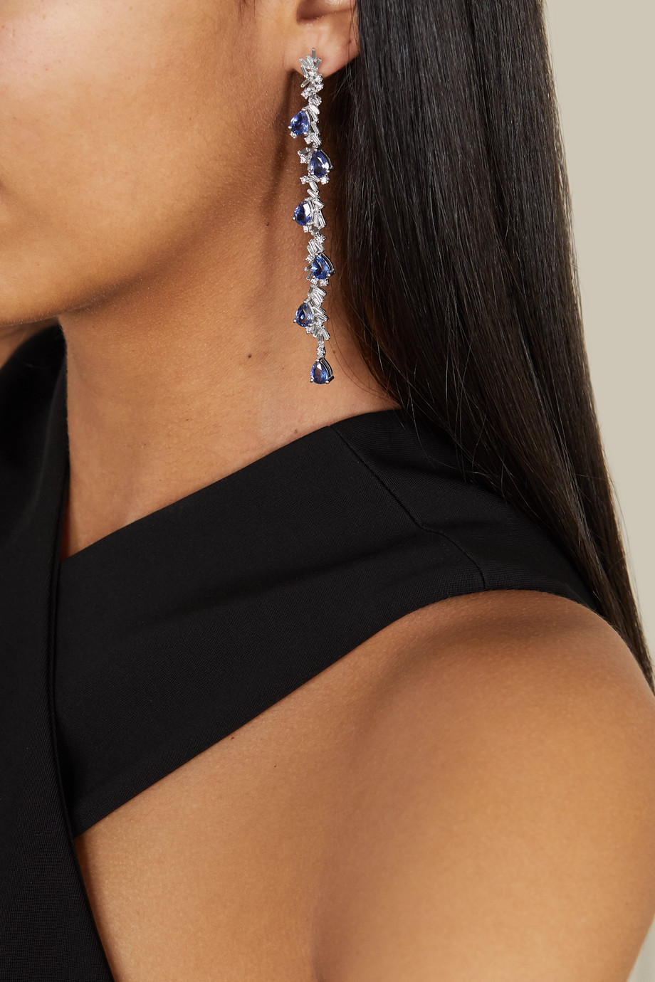 Suzanne Kalan 18-karat white gold, sapphire and diamond earrings