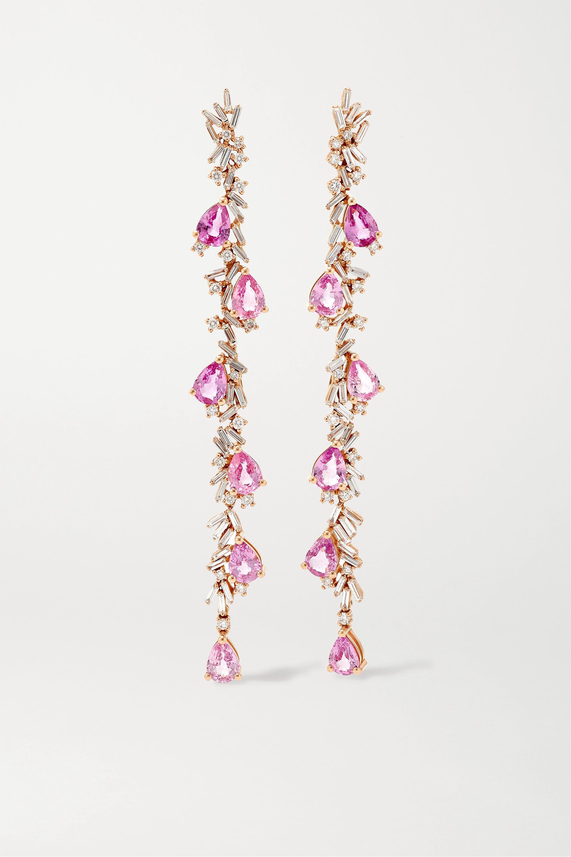 Suzanne Kalan - 18-karat rose gold, diamond and sapphire earrings