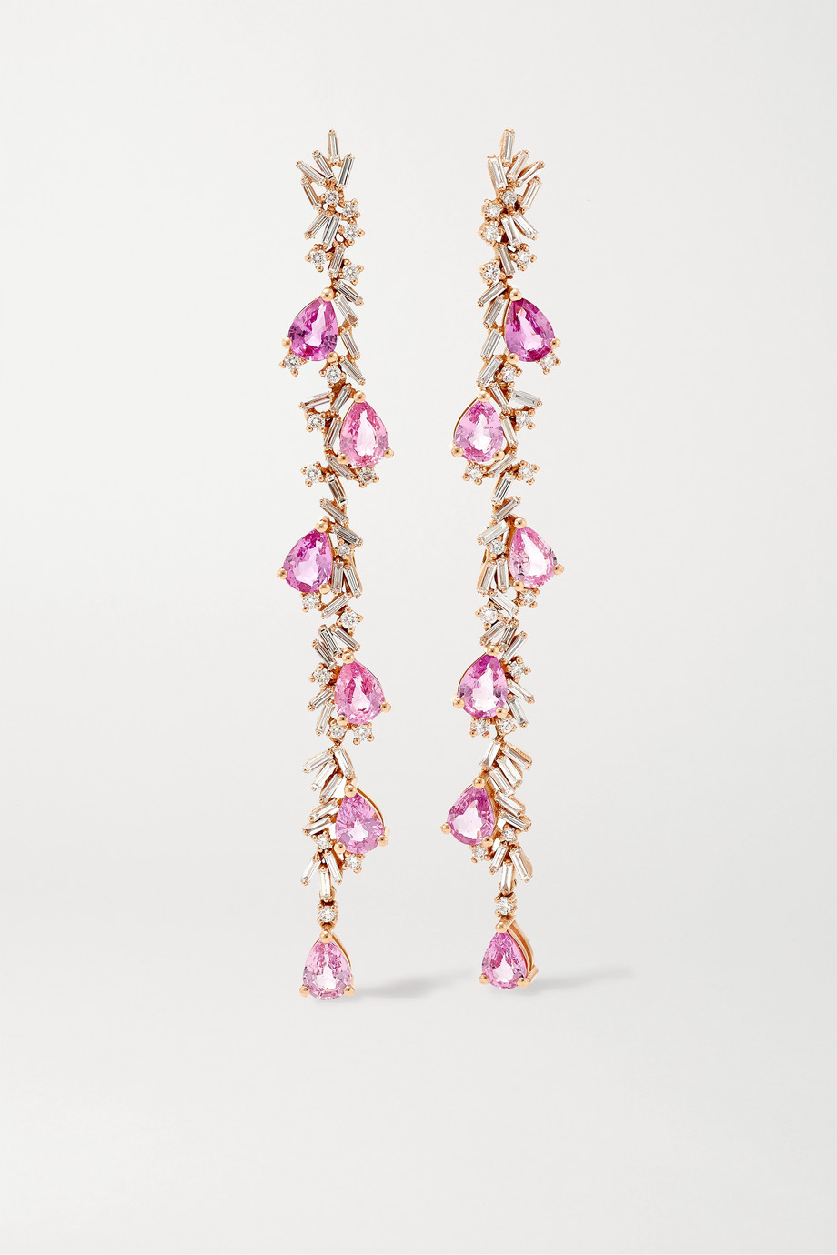 Suzanne Kalan Boucles d'oreilles en or rose 18 carats, diamants et saphirs