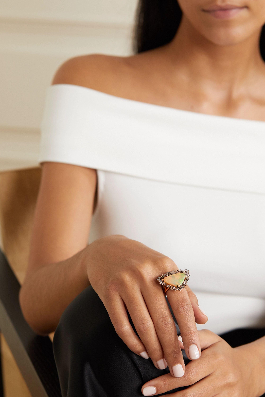 Suzanne Kalan 18-karat rose gold, opal and diamond ring