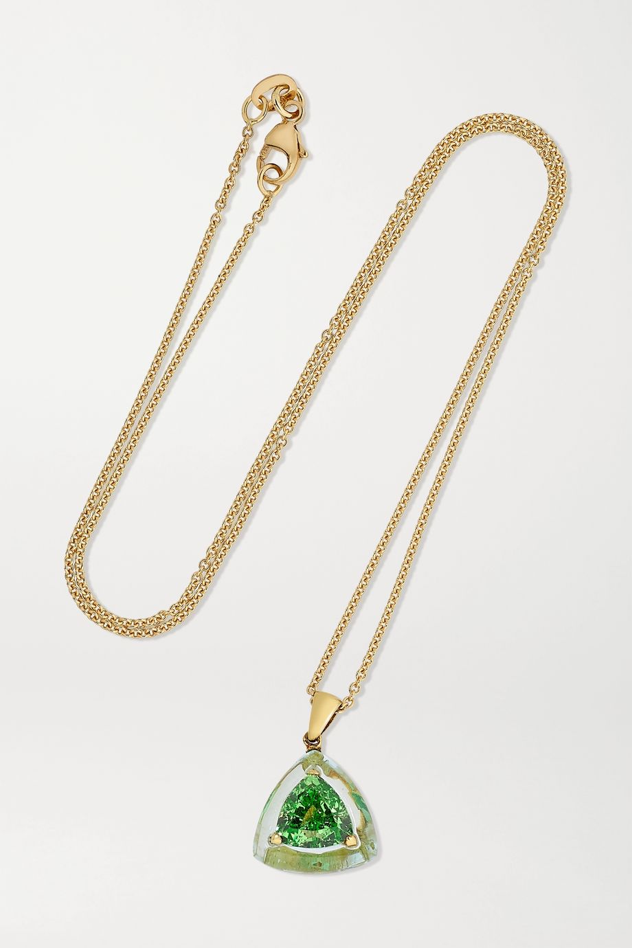 Boghossian 18-karat gold, aquamarine and tsavorite necklace