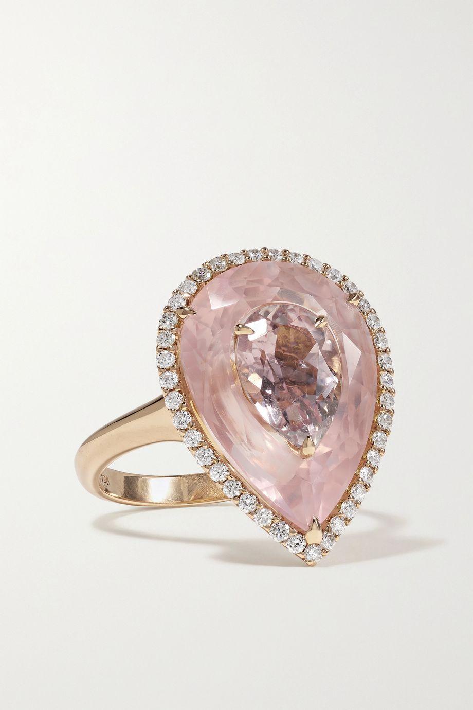 Boghossian 18-karat rose gold, morganite and diamond ring