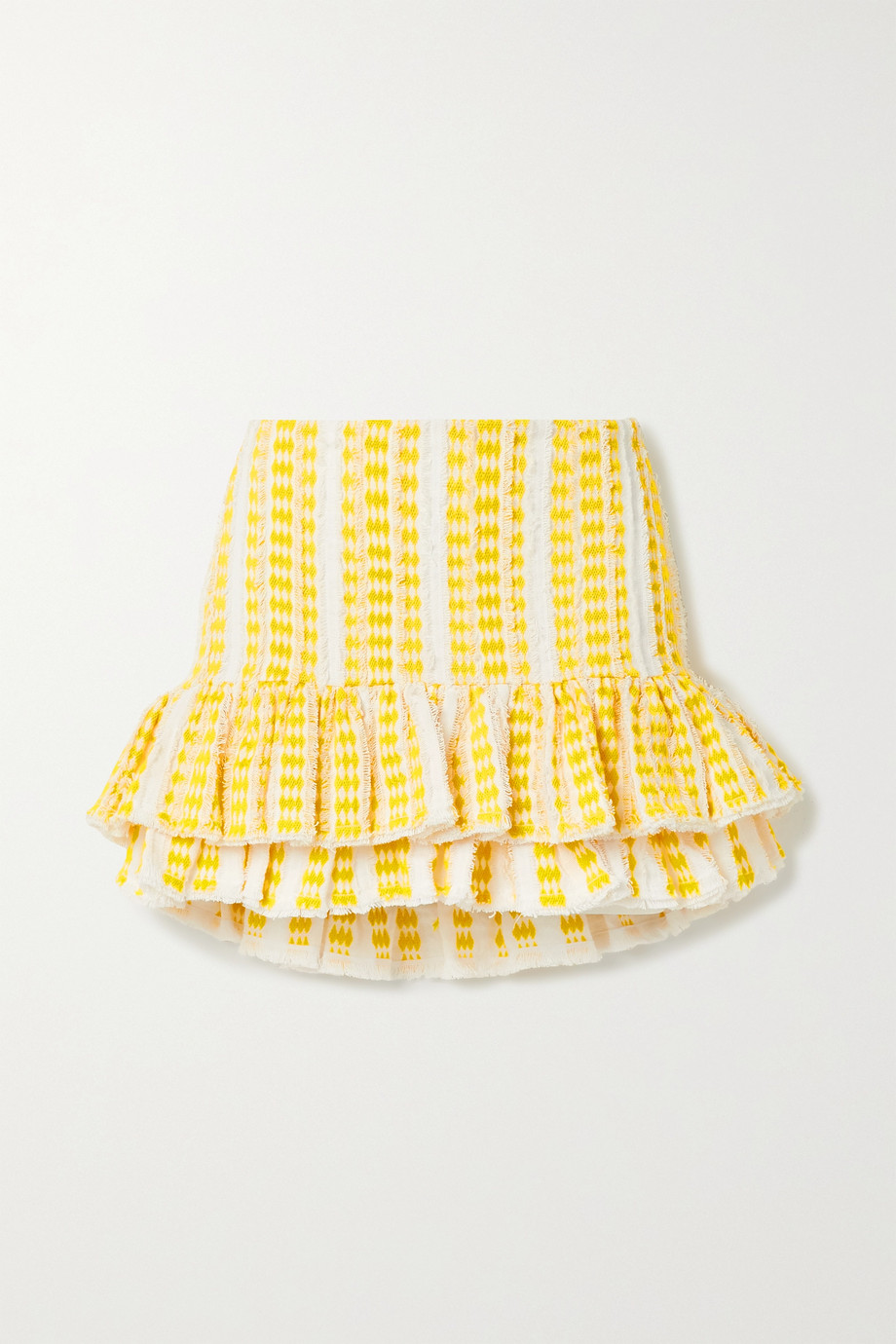Rue Mariscal Frayed ruffled embroidered cotton-gauze mini skirt