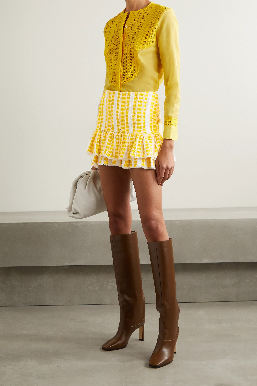 Rue Mariscal Frayed ruffled embroidered cotton-gauze mini skirt