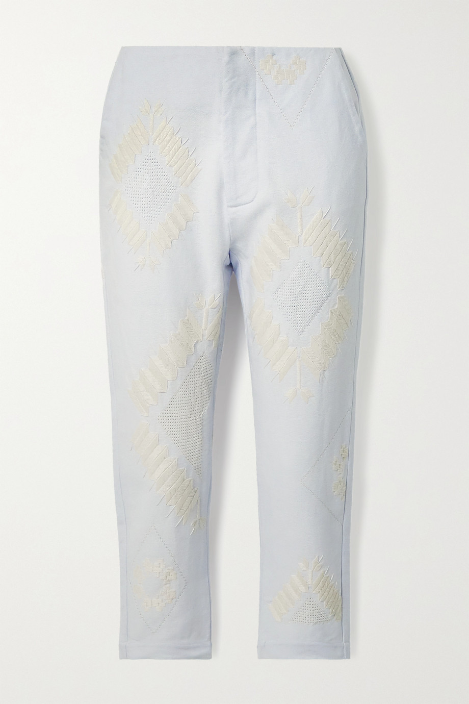 Rue Mariscal + NET SUSTAIN cropped embroidered cotton-canvas tapered pants