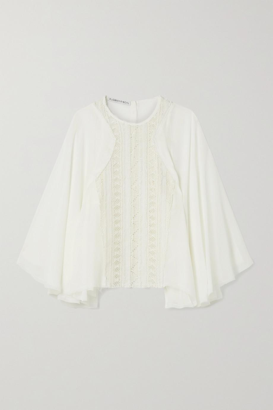 Rue Mariscal Silk-chiffon and crocheted cotton blouse