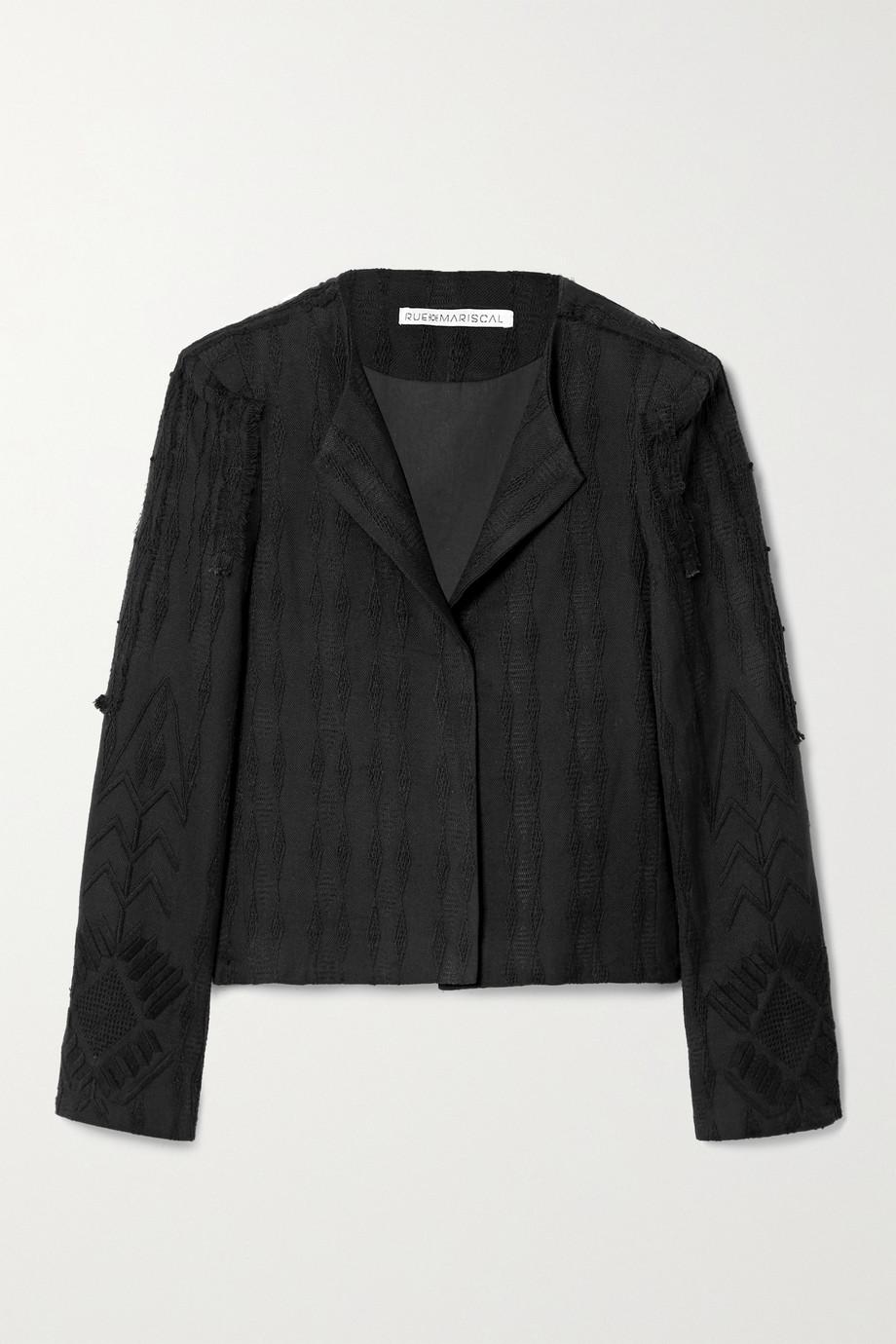 Rue Mariscal Embroidered cotton-canvas blazer