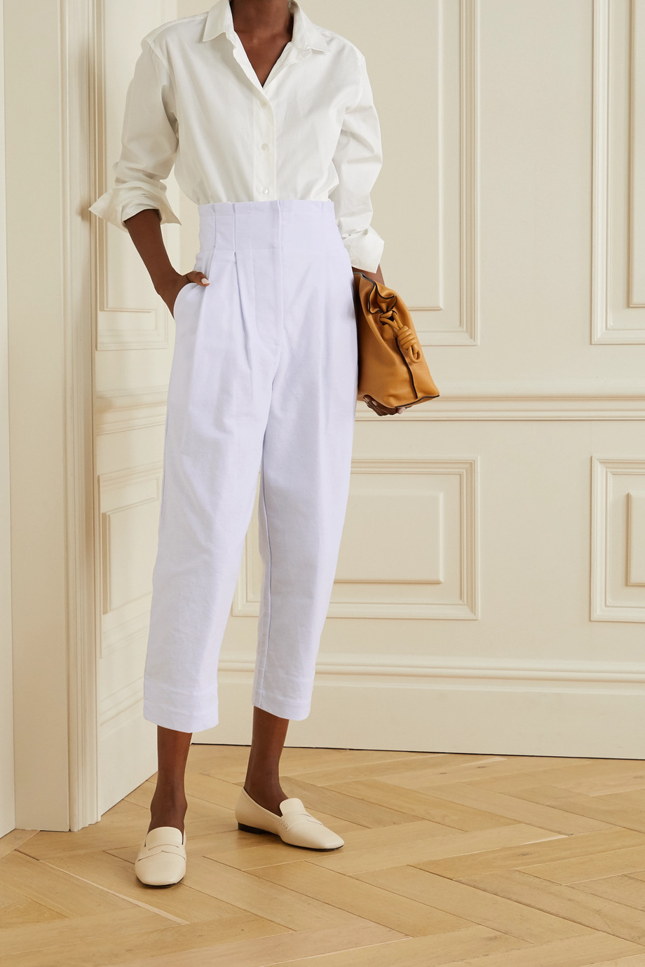 Rue Mariscal + NET SUSTAIN pleated cotton-canvas tapered pants