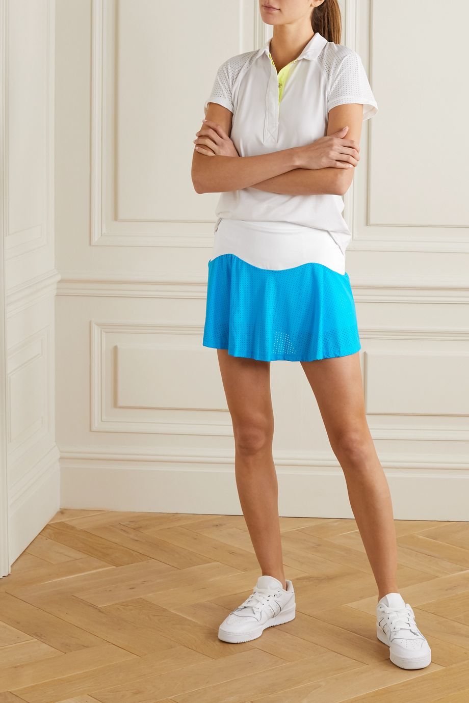 L'Etoile Sport Performance Team mesh-paneled stretch-jersey tennis skirt